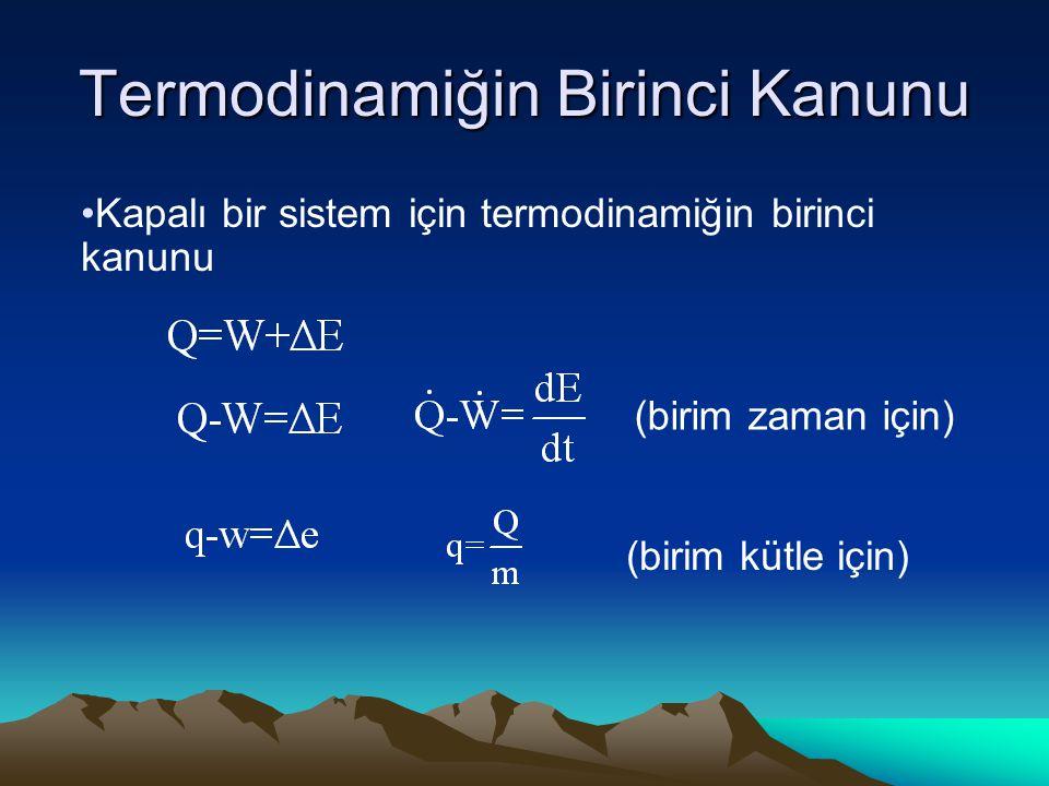 Termodinamiğin Birinci Kanunu Kapalı bir sistem için termodinamiğin birinci kanunu (birim kütle için) (birim zaman için)
