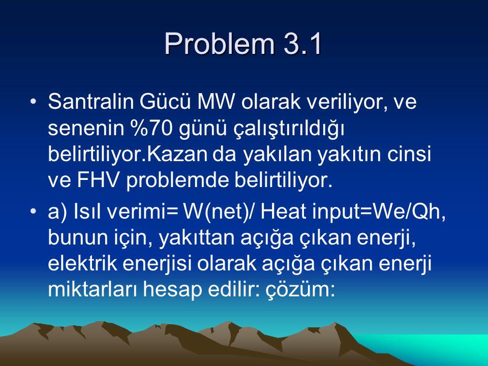 Problem 3.1 Santralin Gücü MW olarak veriliyor, ve senenin %70 günü çalıştırıldığı belirtiliyor.Kazan da yakılan yakıtın cinsi ve FHV problemde belirt