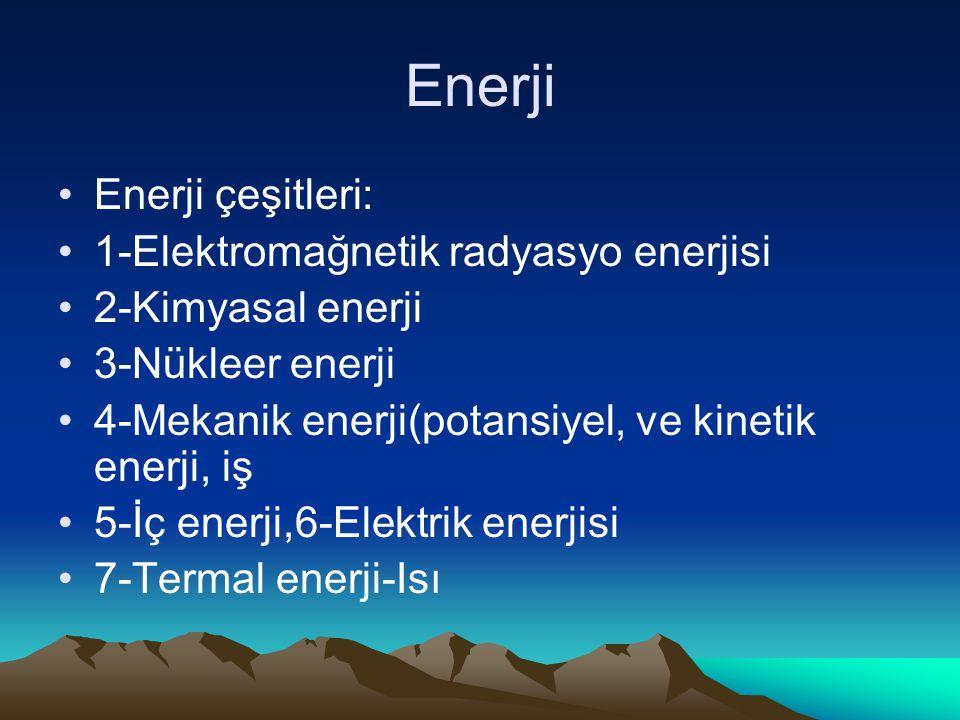 Enerji Enerji çeşitleri: 1-Elektromağnetik radyasyo enerjisi 2-Kimyasal enerji 3-Nükleer enerji 4-Mekanik enerji(potansiyel, ve kinetik enerji, iş 5-İ
