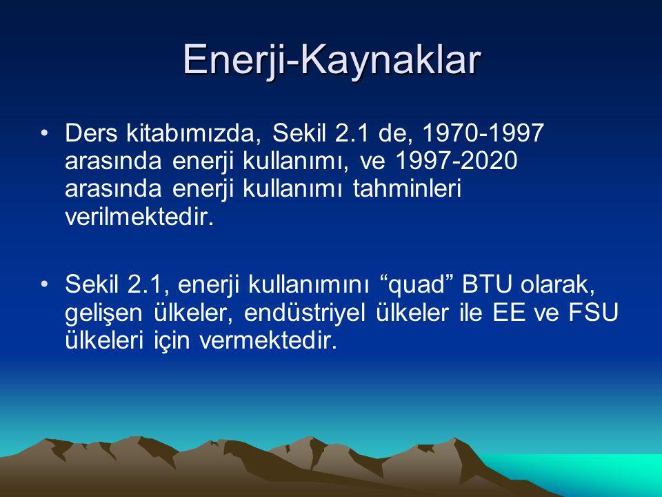 Enerji-Kaynaklar Ders kitabımızda, Sekil 2.1 de, 1970-1997 arasında enerji kullanımı, ve 1997-2020 arasında enerji kullanımı tahminleri verilmektedir.