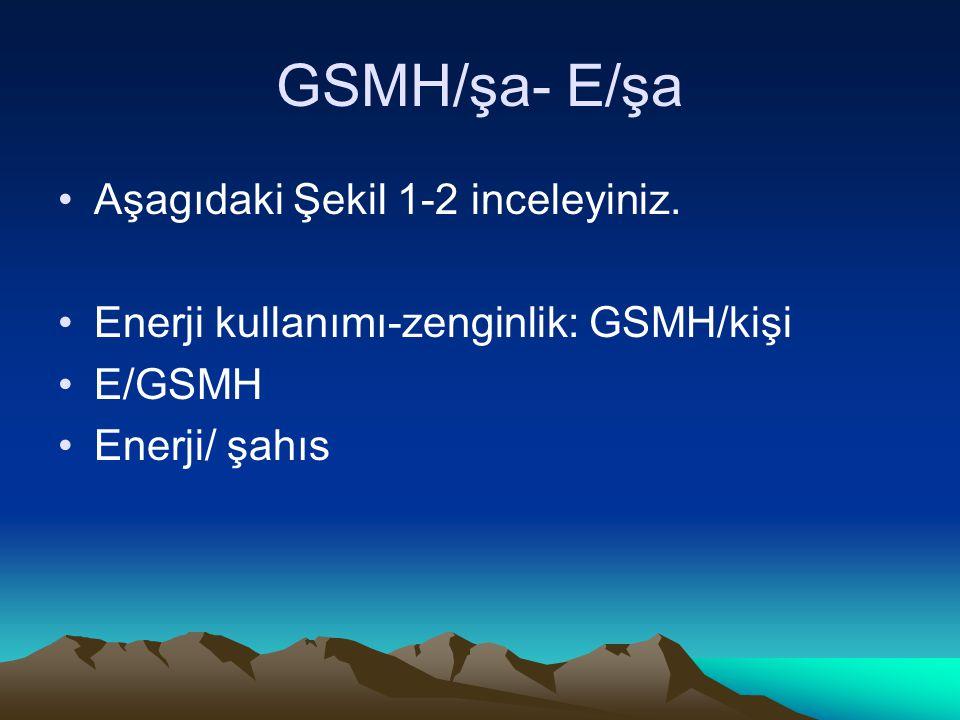 GSMH/şa- E/şa Aşagıdaki Şekil 1-2 inceleyiniz. Enerji kullanımı-zenginlik: GSMH/kişi E/GSMH Enerji/ şahıs