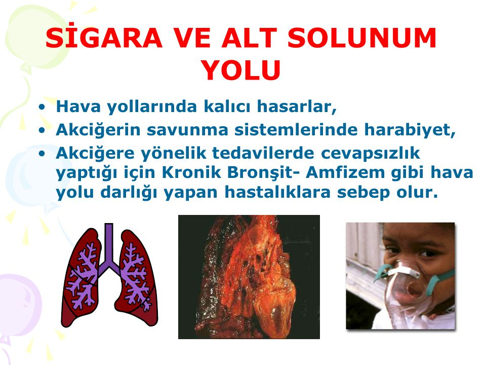 SİGARA VE ALT SOLUNUM YOLU Hava yollarında kalıcı hasarlar, Akciğerin savunma sistemlerinde harabiyet, Akciğere yönelik tedavilerde cevapsızlık yaptığ