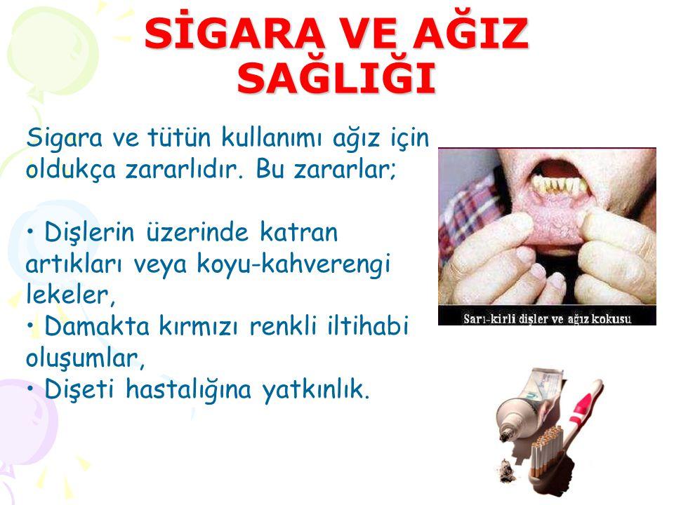 SİGARA VE AĞIZ SAĞLIĞI Sigara ve tütün kullanımı ağız için oldukça zararlıdır. Bu zararlar; Dişlerin üzerinde katran artıkları veya koyu-kahverengi le