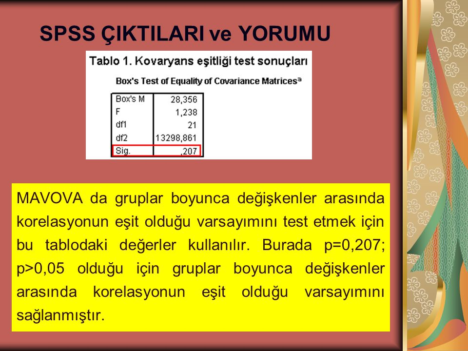 SPSS ÇIKTILARI ve YORUMU MAVOVA da gruplar boyunca değişkenler arasında korelasyonun eşit olduğu varsayımını test etmek için bu tablodaki değerler kul
