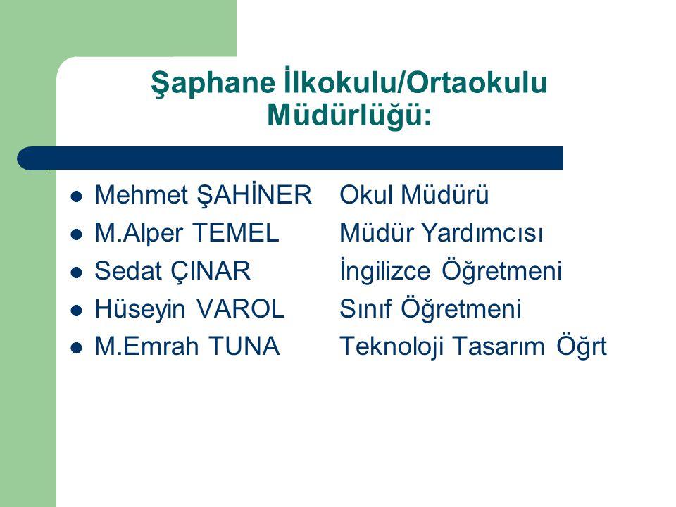Şaphane İlkokulu/Ortaokulu Müdürlüğü: Mehmet ŞAHİNEROkul Müdürü M.Alper TEMELMüdür Yardımcısı Sedat ÇINARİngilizce Öğretmeni Hüseyin VAROLSınıf Öğretm