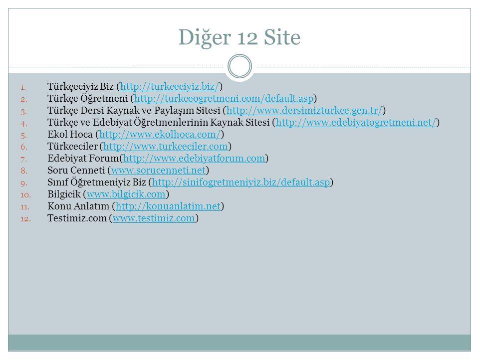Diğer 12 Site 1. Türkçeciyiz Biz (http://turkceciyiz.biz/)http://turkceciyiz.biz/ 2. Türkçe Öğretmeni (http://turkceogretmeni.com/default.asp)http://t