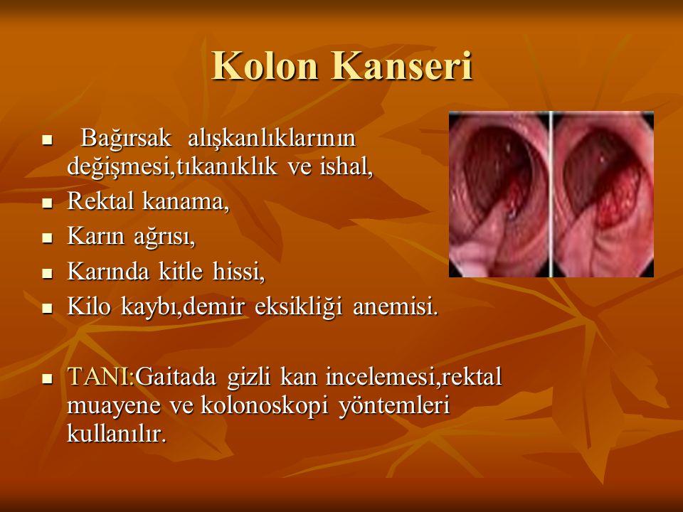 Kolon Kanseri Bağırsak alışkanlıklarının değişmesi,tıkanıklık ve ishal, Bağırsak alışkanlıklarının değişmesi,tıkanıklık ve ishal, Rektal kanama, Rekta