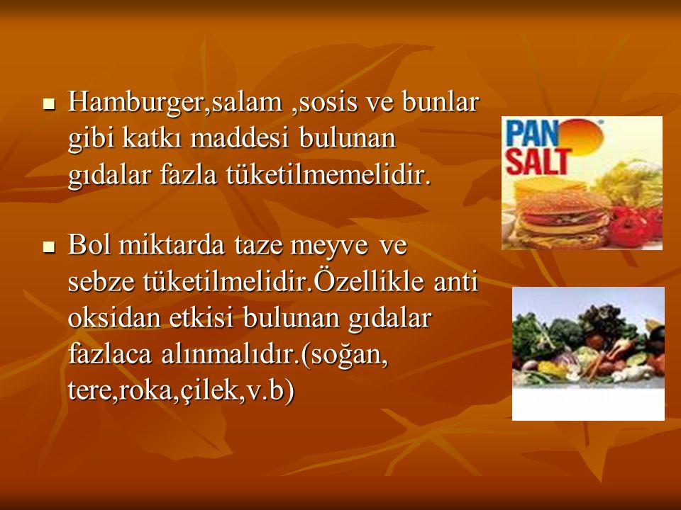 Hamburger,salam,sosis ve bunlar gibi katkı maddesi bulunan gıdalar fazla tüketilmemelidir. Hamburger,salam,sosis ve bunlar gibi katkı maddesi bulunan
