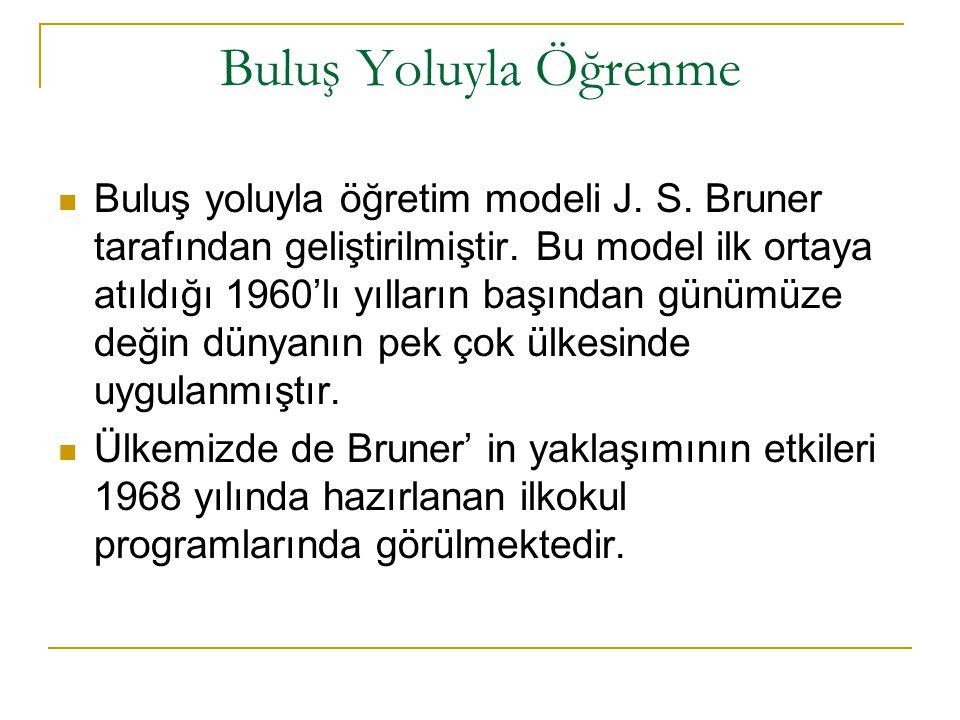 Buluş Yoluyla Öğrenme Buluş yoluyla öğretim modeli J. S. Bruner tarafından geliştirilmiştir. Bu model ilk ortaya atıldığı 1960'lı yılların başından gü