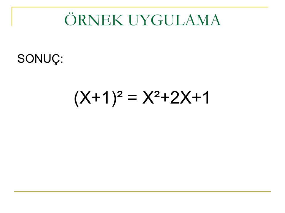 SONUÇ: (X+1)² = X²+2X+1 ÖRNEK UYGULAMA