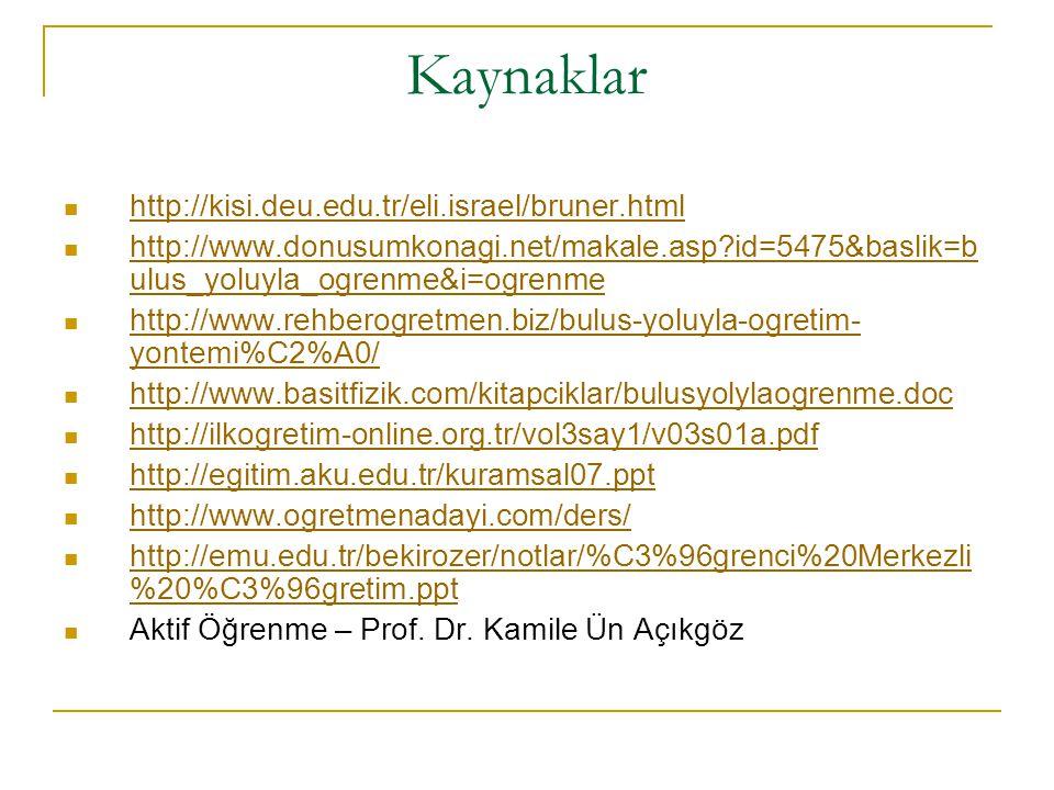Kaynaklar http://kisi.deu.edu.tr/eli.israel/bruner.html http://www.donusumkonagi.net/makale.asp?id=5475&baslik=b ulus_yoluyla_ogrenme&i=ogrenme http:/
