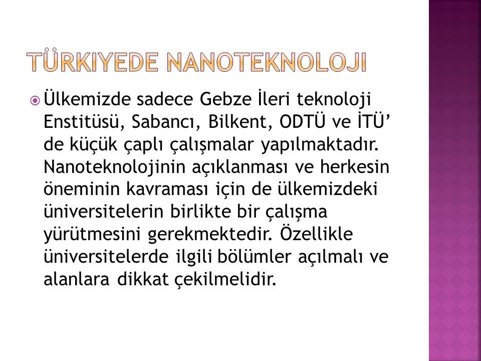 Ülkemizde sadece Gebze İleri teknoloji Enstitüsü, Sabancı, Bilkent, ODTÜ ve İTÜ' de küçük çaplı çalışmalar yapılmaktadır. Nanoteknolojinin açıklanma