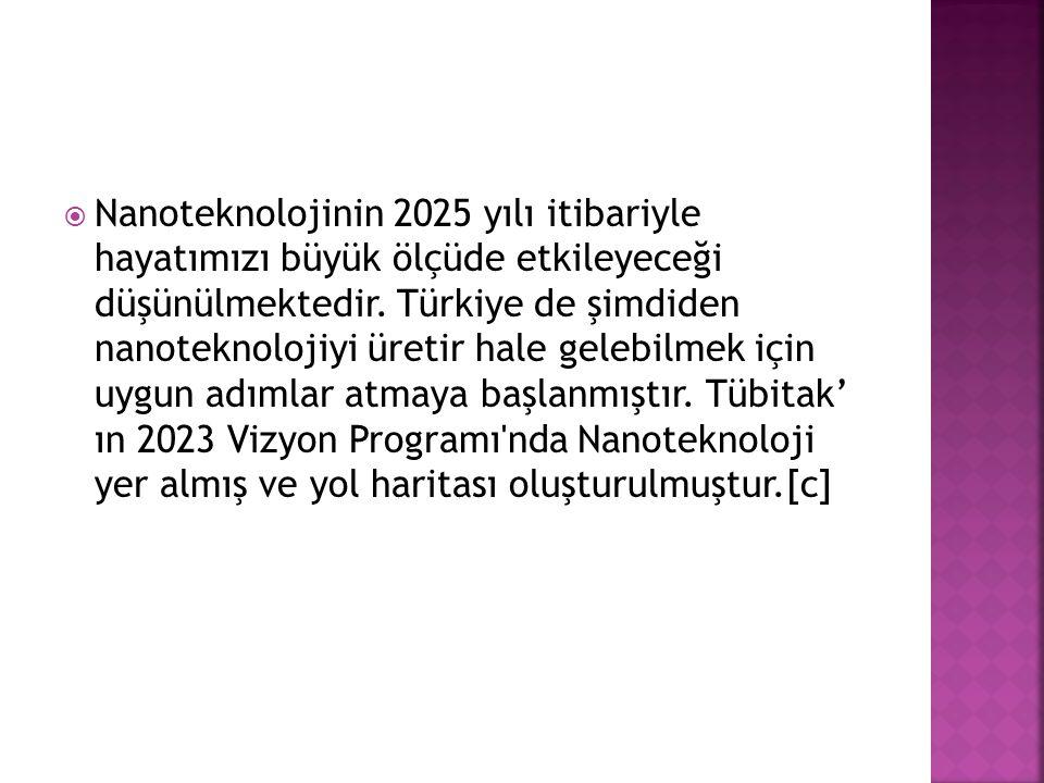  Nanoteknolojinin 2025 yılı itibariyle hayatımızı büyük ölçüde etkileyeceği düşünülmektedir. Türkiye de şimdiden nanoteknolojiyi üretir hale gelebilm