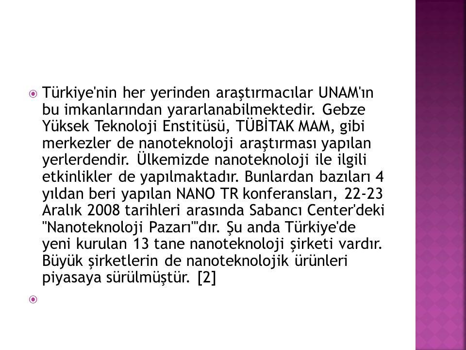  Türkiye'nin her yerinden araştırmacılar UNAM'ın bu imkanlarından yararlanabilmektedir. Gebze Yüksek Teknoloji Enstitüsü, TÜBİTAK MAM, gibi merkezler