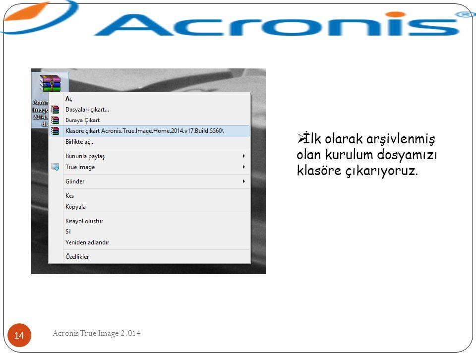 Acronis True Image 2.014 14  İlk olarak arşivlenmiş olan kurulum dosyamızı klasöre çıkarıyoruz.