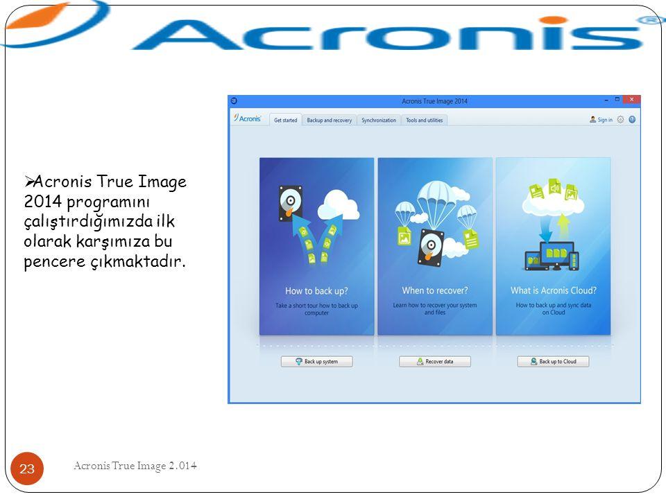 Acronis True Image 2.014 23  Acronis True Image 2014 programını çalıştırdığımızda ilk olarak karşımıza bu pencere çıkmaktadır.