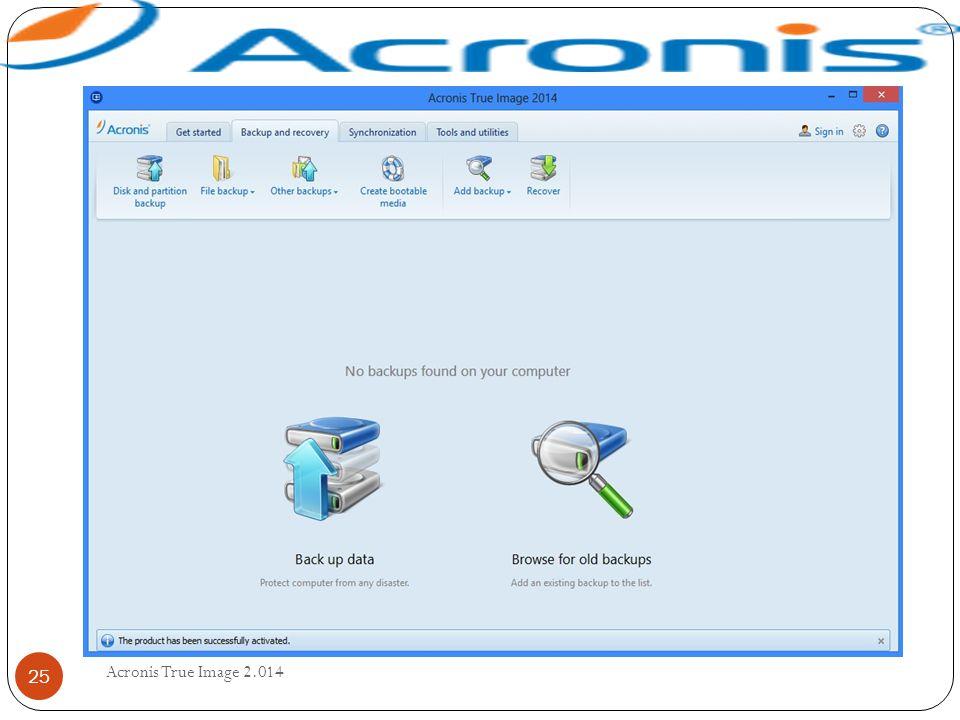 Acronis True Image 2.014 25