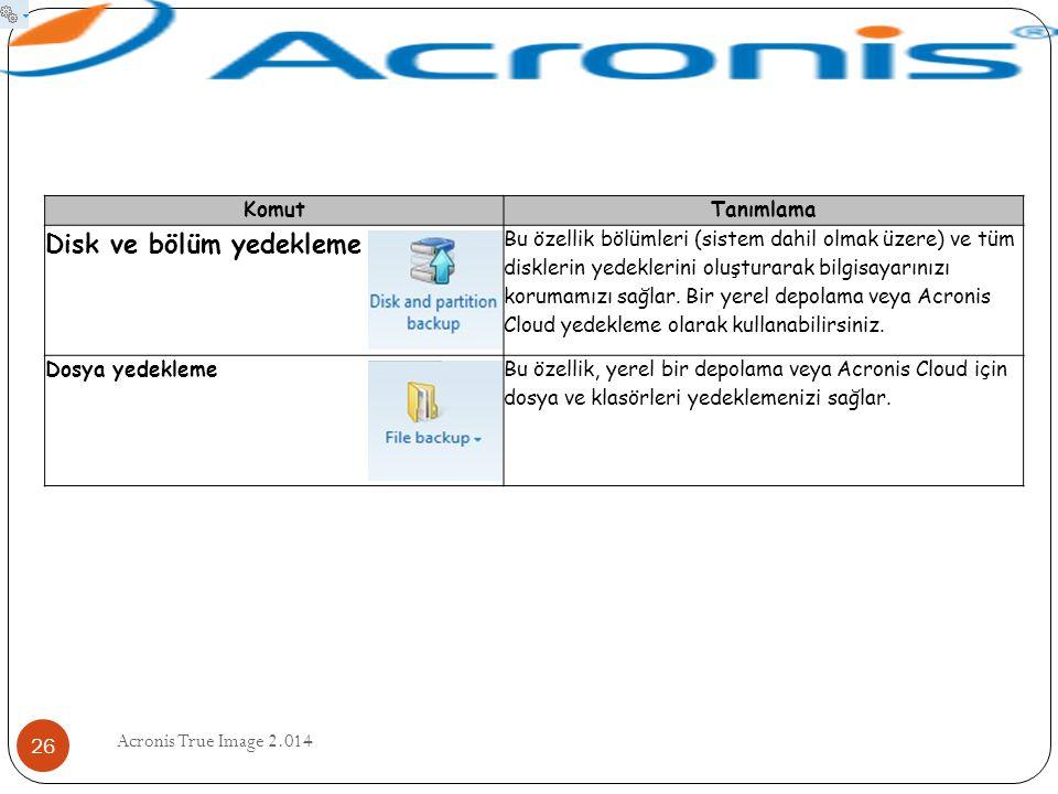 Acronis True Image 2.014 26 KomutTanımlama Disk ve bölüm yedekleme Bu özellik bölümleri (sistem dahil olmak üzere) ve tüm disklerin yedeklerini oluştu