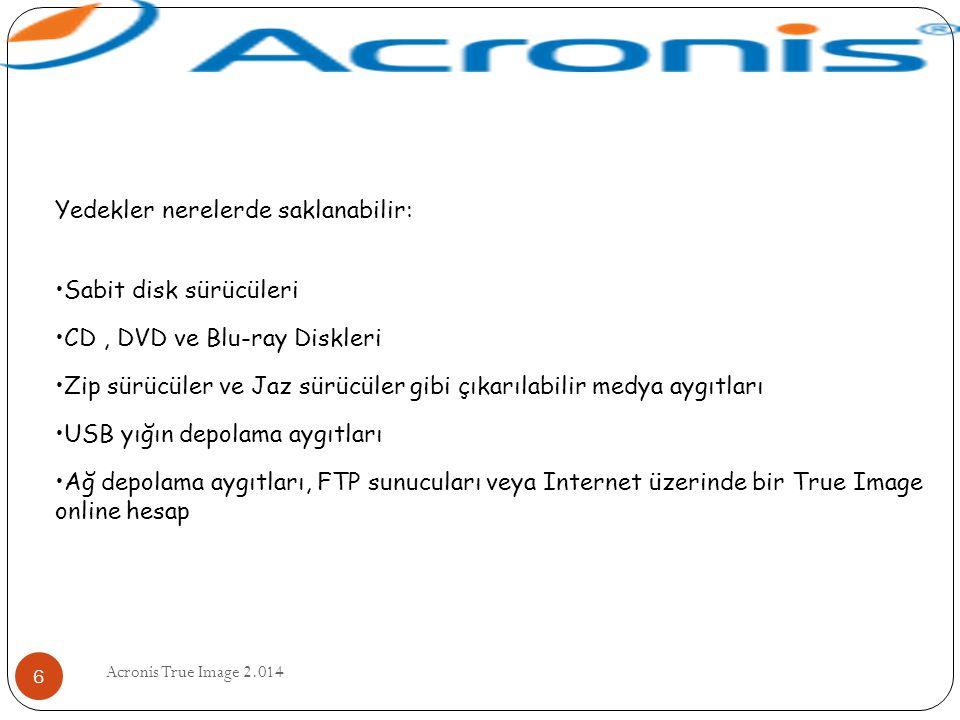 Acronis True Image 2.014 6 Yedekler nerelerde saklanabilir: Sabit disk sürücüleri CD, DVD ve Blu-ray Diskleri Zip sürücüler ve Jaz sürücüler gibi çıka