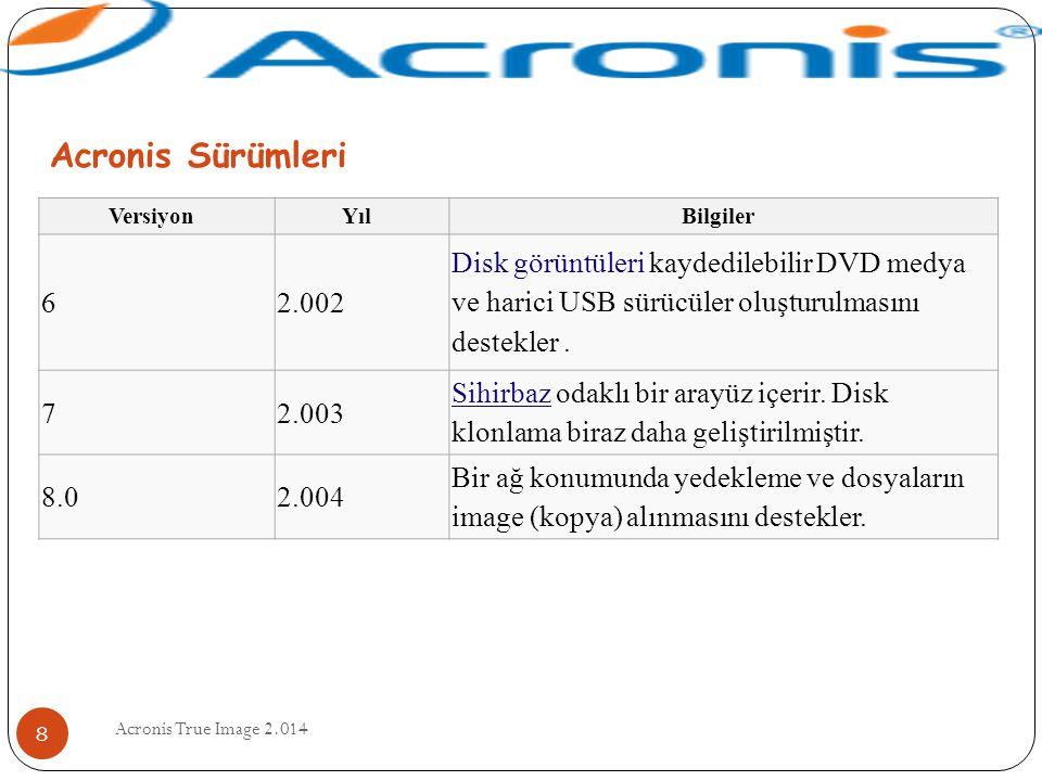 Acronis True Image 2.014 8 VersiyonYılBilgiler 62.002 Disk görüntüleri kaydedilebilir DVD medya ve harici USB sürücüler oluşturulmasını destekler. 72.