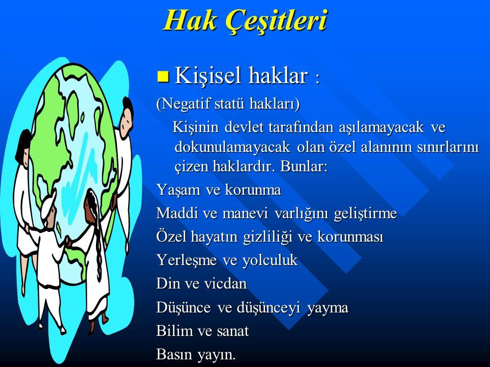 Temel insan hakları. a. Yaşama Hakkı b. Sağlık Hakkı c. Eğitim Hakkı d. Mülk Edinme Hakkı e. Seyahat Hakkı f. Haberleşme Hakkı g. Kanun Önünde Kendini