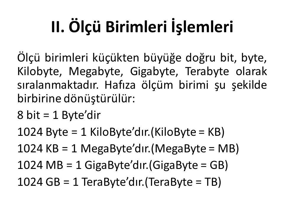 II. Ölçü Birimleri İşlemleri Ölçü birimleri küçükten büyüğe doğru bit, byte, Kilobyte, Megabyte, Gigabyte, Terabyte olarak sıralanmaktadır. Hafıza ölç