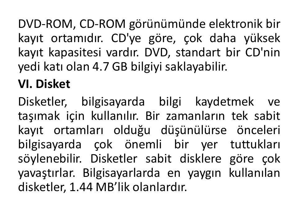 DVD-ROM, CD-ROM görünümünde elektronik bir kayıt ortamıdır. CD'ye göre, çok daha yüksek kayıt kapasitesi vardır. DVD, standart bir CD'nin yedi katı ol