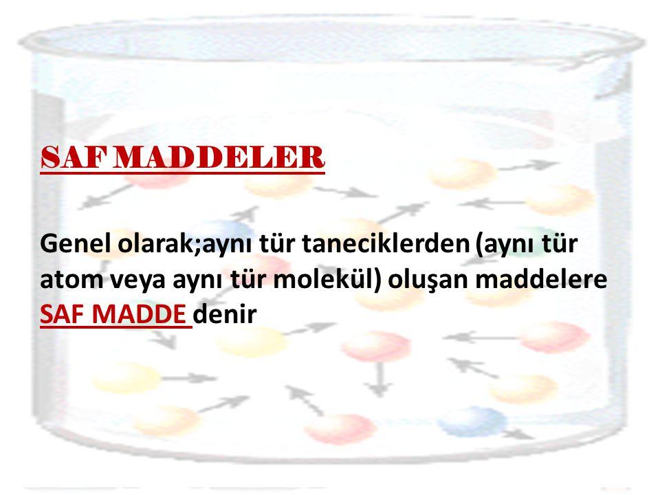 SAF MADDELER Genel olarak;aynı tür taneciklerden (aynı tür atom veya aynı tür molekül) oluşan maddelere SAF MADDE denir
