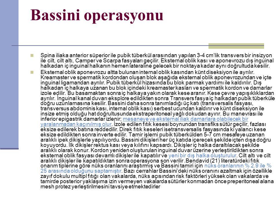 Bassini operasyonu Spina iliaka anterior süperior ile pubik tüberkül arasından yapılan 3-4 cm'lik transvers bir insizyon ile cilt, cilt altı, Camper ve Scarpa fasyaları geçilir.