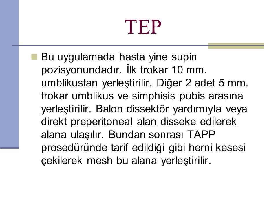 TEP Bu uygulamada hasta yine supin pozisyonundadır.