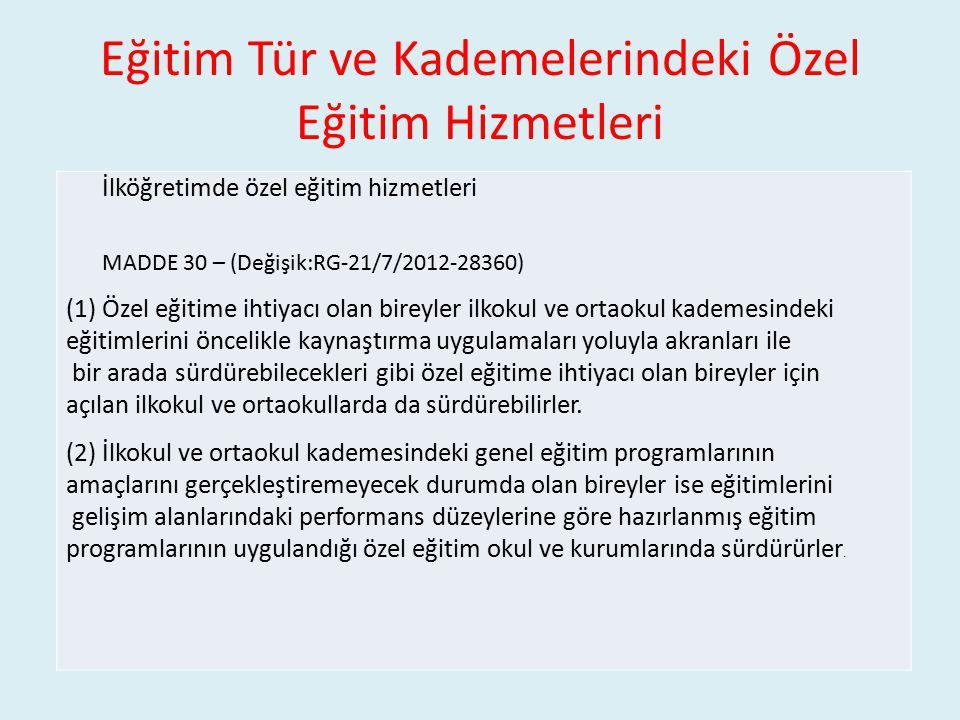 Eğitim Tür ve Kademelerindeki Özel Eğitim Hizmetleri İlköğretimde özel eğitim hizmetleri MADDE 30 – (Değişik:RG-21/7/2012-28360) (1)Özel eğitime ihtiy