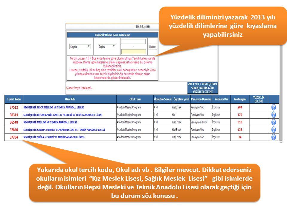 Yüzdelik diliminizi yazarak 2013 yılı yüzdelik dilimlerine göre kıyaslama yapabilirsiniz Yukarıda okul tercih kodu, Okul adı vb. Bilgiler mevcut. Dikk