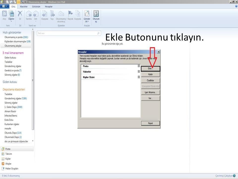 E-posta Hesabı sekmesini seçip İleri Butonunu tıklayın.