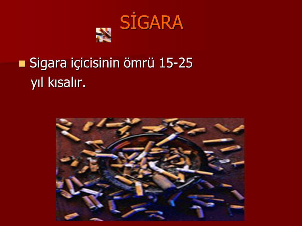 SİGARA Sigara içicisinin ömrü 15-25 Sigara içicisinin ömrü 15-25 yıl kısalır. yıl kısalır.