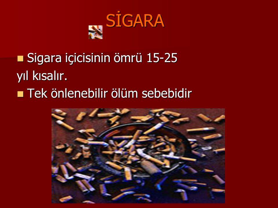 SİGARA Sigara içicisinin ömrü 15-25 Sigara içicisinin ömrü 15-25 yıl kısalır. Tek önlenebilir ölüm sebebidir Tek önlenebilir ölüm sebebidir