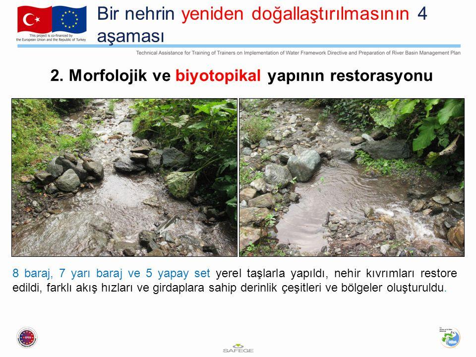 Bir nehrin yeniden doğallaştırılmasının 4 aşaması 2. Morfolojik ve biyotopikal yapının restorasyonu 8 baraj, 7 yarı baraj ve 5 yapay set yerel taşlarl