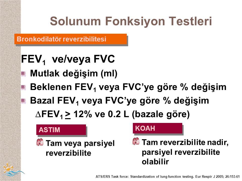 Bronkodilatör reverzibilitesi FEV 1 ve/veya FVC Mutlak değişim (ml) Beklenen FEV 1 veya FVC'ye göre % değişim Bazal FEV 1 veya FVC'ye göre % değişim  FEV 1 > 12% ve 0.2 L (bazale göre) ASTIM KOAH Tam veya parsiyel reverzibilite Tam reverzibilite nadir, parsiyel reverzibilite olabilir ATS/ERS Task force: Standardization of lung function testing.