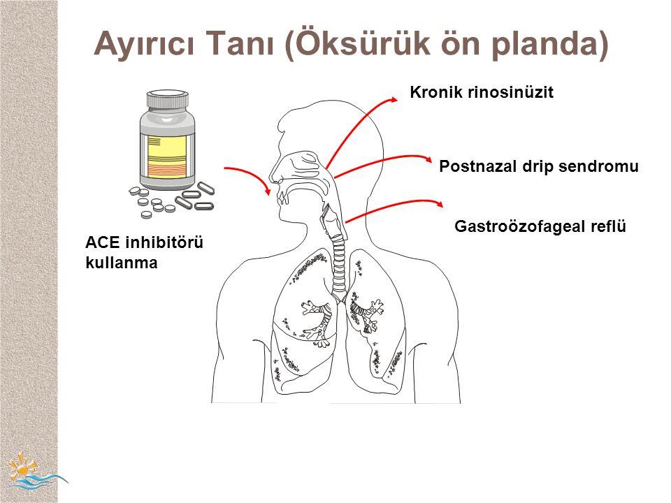 ACE inhibitörü kullanma Kronik rinosinüzit Postnazal drip sendromu Gastroözofageal reflü Ayırıcı Tanı (Öksürük ön planda)