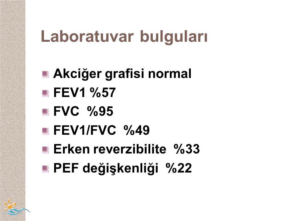 Laboratuvar bulguları Akciğer grafisi normal FEV1 %57 FVC %95 FEV1/FVC %49 Erken reverzibilite %33 PEF değişkenliği %22