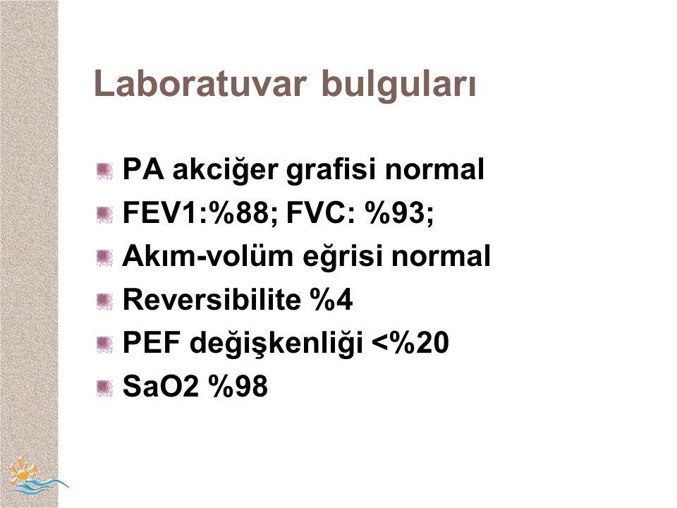 Laboratuvar bulguları PA akciğer grafisi normal FEV1:%88; FVC: %93; Akım-volüm eğrisi normal Reversibilite %4 PEF değişkenliği <%20 SaO2 %98