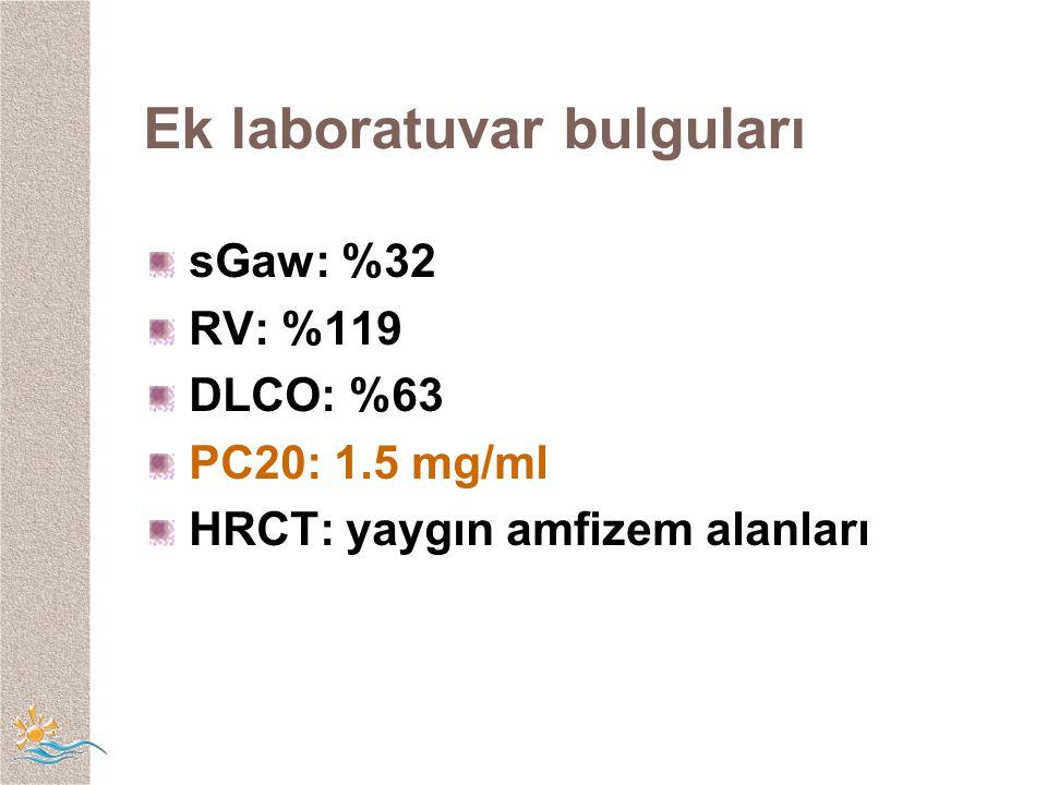 Ek laboratuvar bulguları sGaw: %32 RV: %119 DLCO: %63 PC20: 1.5 mg/ml HRCT: yaygın amfizem alanları