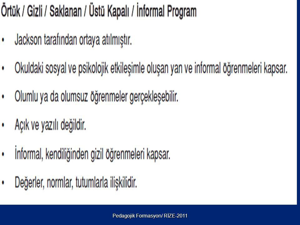 Pedagojik Formasyon/ RİZE-2011 5. ÖRTÜK ( GİZİL ) PROGRAM: Ders dışı etkinlikleri de içine alan programdır. Okul dışı faaliyetler örtük program çerçev