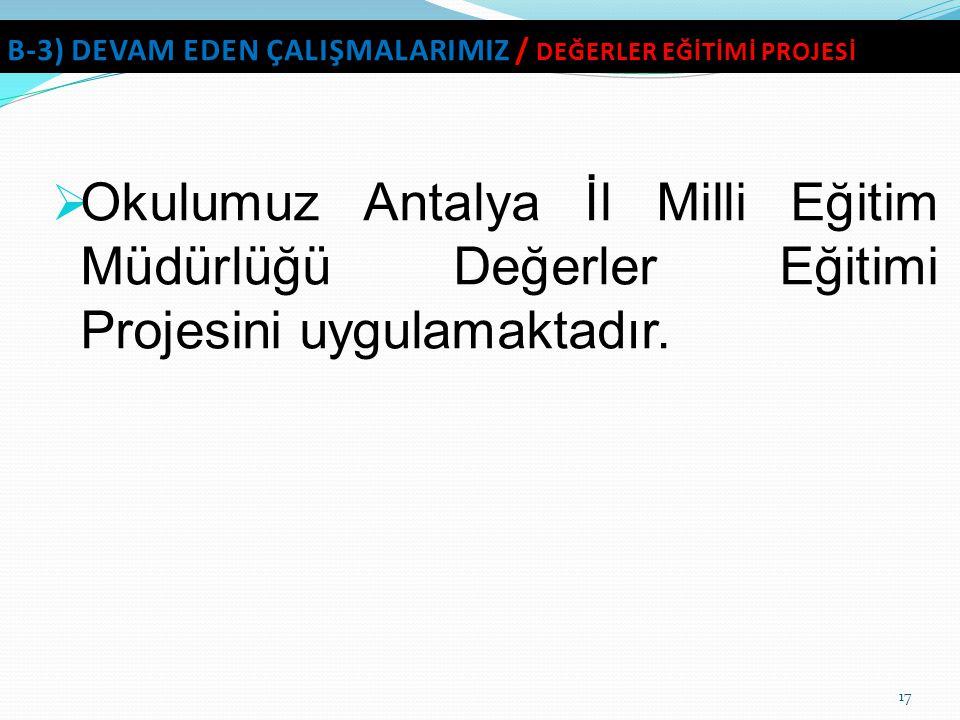  Okulumuz Antalya İl Milli Eğitim Müdürlüğü Değerler Eğitimi Projesini uygulamaktadır.