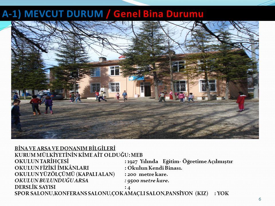 7 A-2) MEVCUT DURUM / EĞİTİM-ÖĞRETİM PROJE V.B.