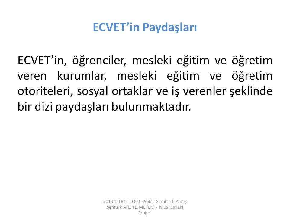 ECVET'in Paydaşları ECVET'in, öğrenciler, mesleki eğitim ve öğretim veren kurumlar, mesleki eğitim ve öğretim otoriteleri, sosyal ortaklar ve iş veren