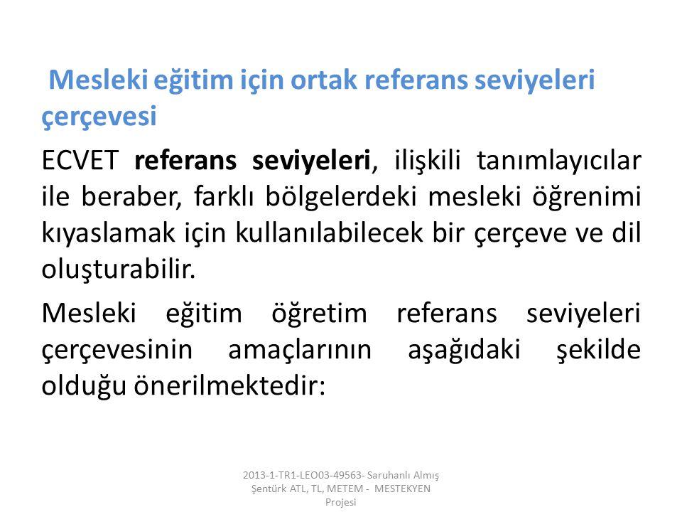 Mesleki eğitim için ortak referans seviyeleri çerçevesi ECVET referans seviyeleri, ilişkili tanımlayıcılar ile beraber, farklı bölgelerdeki mesleki öğ