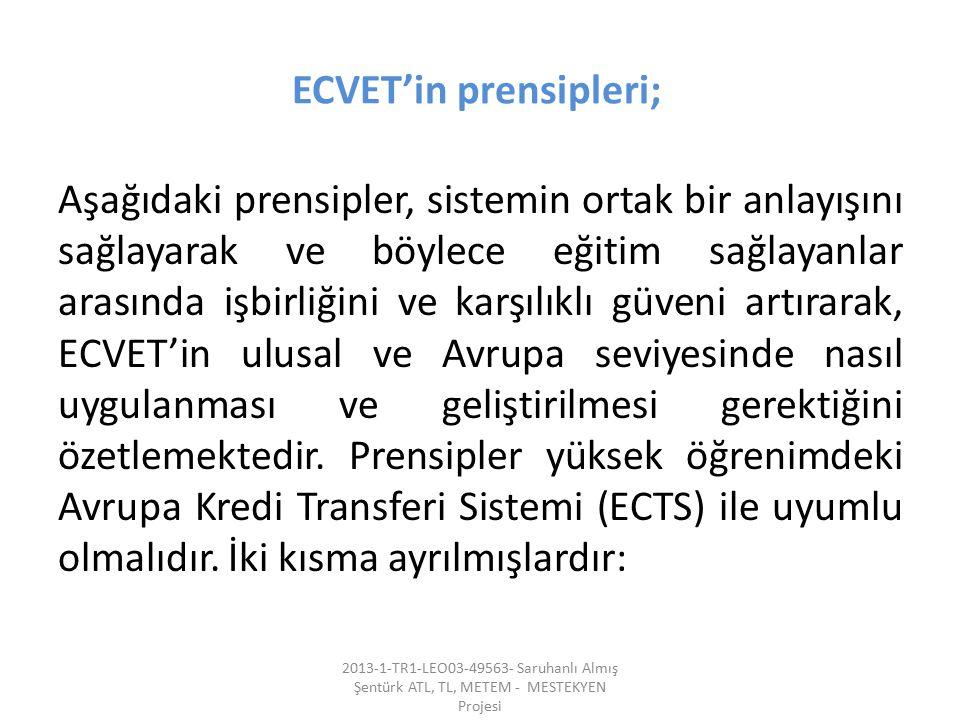 ECVET'in prensipleri; Aşağıdaki prensipler, sistemin ortak bir anlayışını sağlayarak ve böylece eğitim sağlayanlar arasında işbirliğini ve karşılıklı