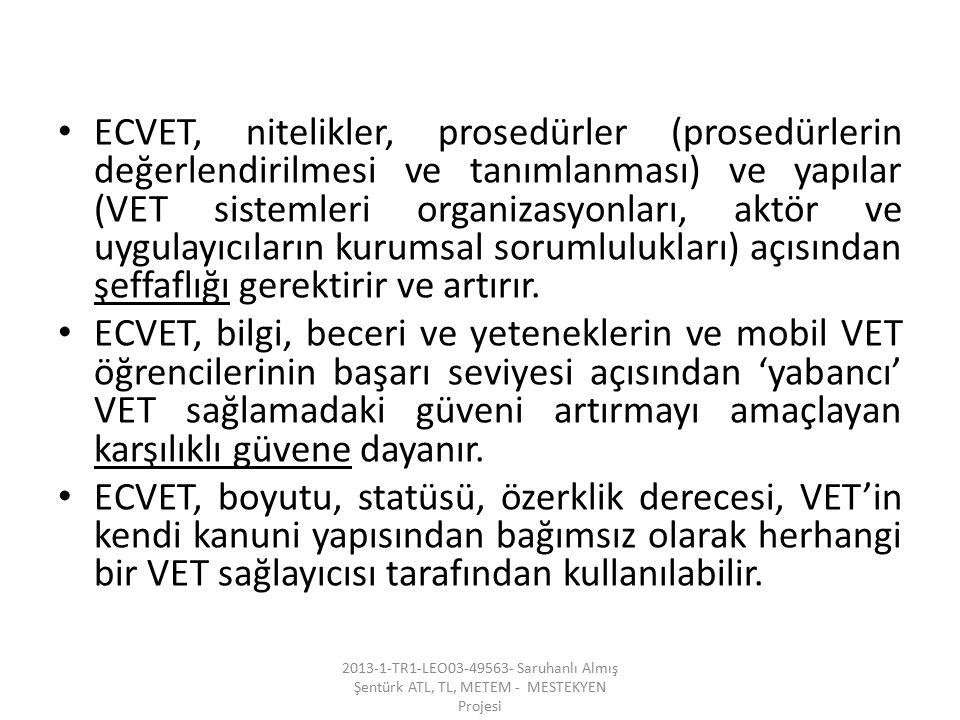 ECVET, nitelikler, prosedürler (prosedürlerin değerlendirilmesi ve tanımlanması) ve yapılar (VET sistemleri organizasyonları, aktör ve uygulayıcıların