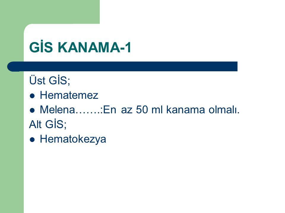 GİS KANAMA-1 Üst GİS; Hematemez Melena…….:En az 50 ml kanama olmalı. Alt GİS; Hematokezya