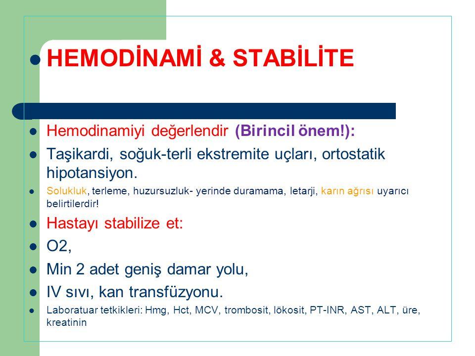 HEMODİNAMİ & STABİLİTE Hemodinamiyi değerlendir (Birincil önem!): Taşikardi, soğuk-terli ekstremite uçları, ortostatik hipotansiyon. Solukluk, terleme